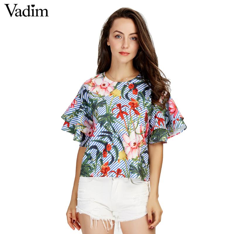 HTB1VnisSXXXXXcVXVXXq6xXFXXXw - Women sweet ruffles loose floral shirts short sleeve