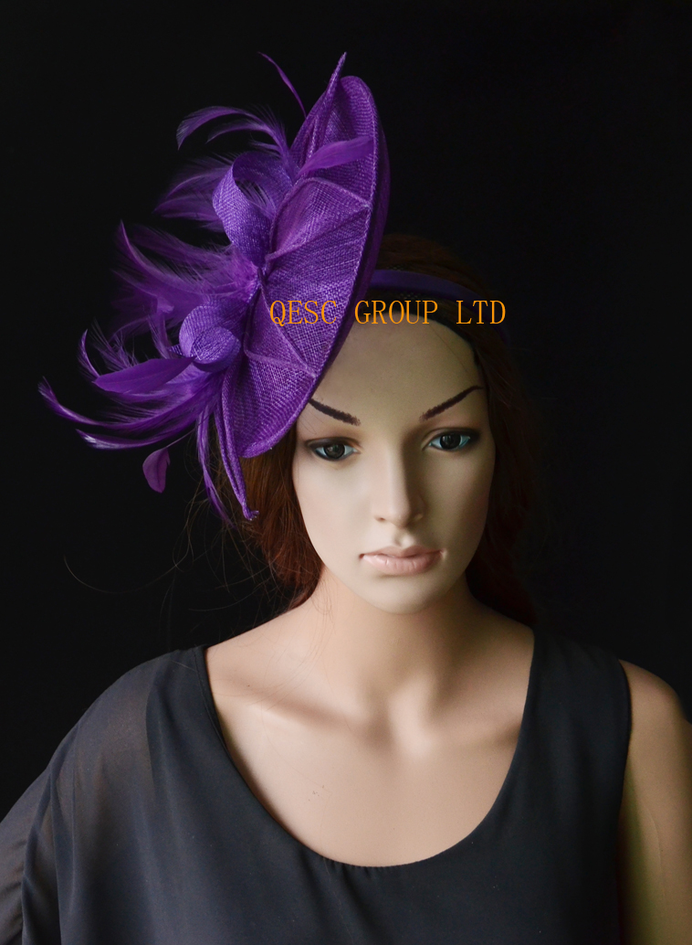 Aliexpress.com   Buy NEW Purple Big sinamay fascinator wedding hat with  sinamay loops feathers handmade flowers for Royal Races Kentucky derby.  from ... 6d1549ac0e82