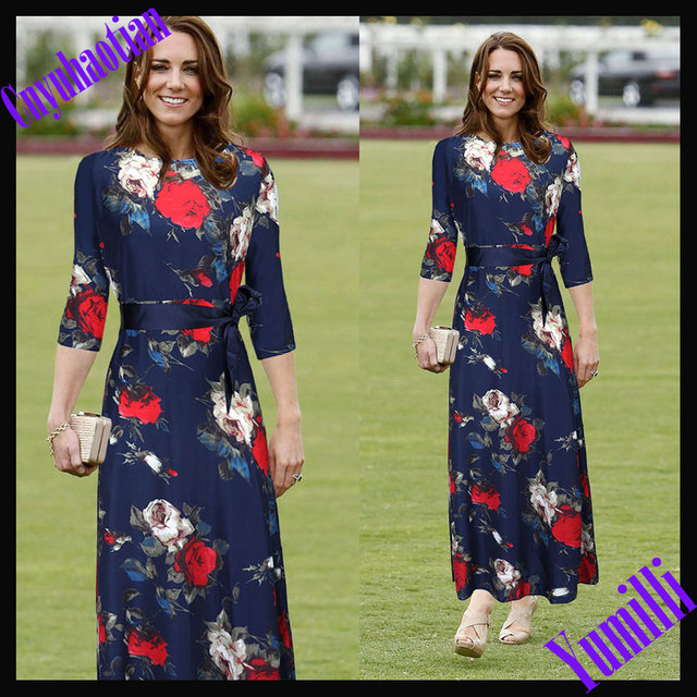New 2015 Autumn Summer Dress Print Long Sleeve Maxi Dresses Waist Length Women  Dress Ebay Hot Selling Chiffon Dresses Vestidos 831bebddf8f2