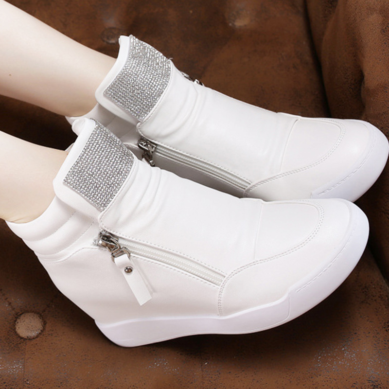 Vulcanize shoes Crystal Zip fashion designer sneakers for women increase wear-resistant women shoes 2018 new arrival