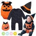 Halloween abóbora traje conjunto de roupas 3 pcs estrelas romper do bebê + colete + assistente de abóbora chapéu infantil criança crianças meninos roupa das meninas