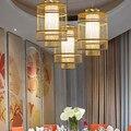Креативный дизайн ручной вязки бамбуковый Кулон лампы современный подвесной светильник инженерно-декор Освещение дерево Подвеска G087