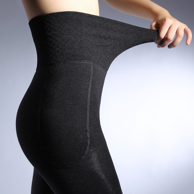 ZJX Winter Women Leggings Thick Winter Warm Pants High Waist Slimming Thicken High Elastic Women's Warm Velvet Leggings 3