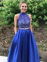 Vestidos de Graduacion Ren Satin Cao Cổ 2 Piece Prom Dresses Tầng Length Trang Phục Chính Thức Phụ N