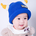 2016 Cartoon horns wool Autumn Winter Baby Child knitted hat kids girls Earflap Caps Age for 1-5 years old