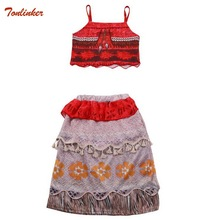 Girls Moana Costume Dress Skirt Sets For Toddler Kids Party Up Spaghetti Dresses Evening 2019 New Summer