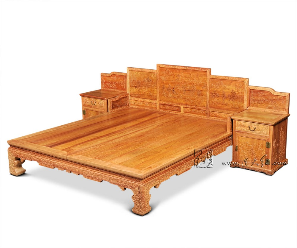 1 9 2 1m king full bed frames storage beds with side cabinet bedroom furniture chinese retro bedstead factory can be customized