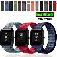 กีฬาไนลอนสำหรับ Amazfit BIP สายสร้อยข้อมือสำหรับนาฬิกา Huawei GT Honor Magic สำหรับ Huami Amazfit Pace Stratos 2 GTS GTR 47 มม.