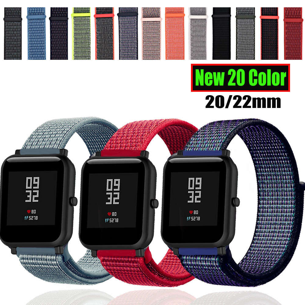 Sport Nylon Strap For Amazfit Bip Strap Bracelet For Huawei Watch GT Honor Magic For Huami Amazfit Pace Stratos 2 GTS GTR 47MM(China)