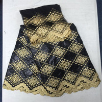 HL African Lace Fabric Guinea Bazin Getzner In Black 2 Yards Net Lace High Quality African