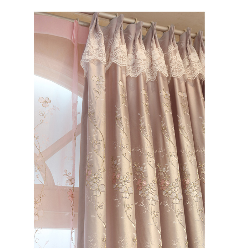 Embroidered Curtains European Garden Style Window Curtain Hooks Pink Color General Pleat