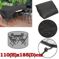 Round Outdoor Garden Patio Furniture Cover Waterproof Dust Protective Cover For 4 Seater Table Set 110x185cm