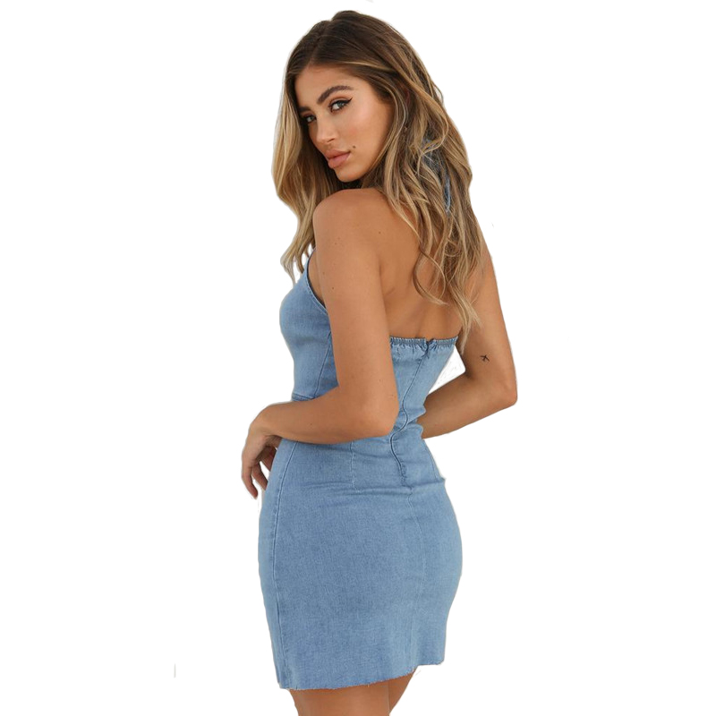 Sexy Halter Backless Mini Sheath Party Dress Women Fashion Solid Sleeveless Summer Dress 2019 New Casual Denim Vestidos Female in Dresses from Women 39 s Clothing