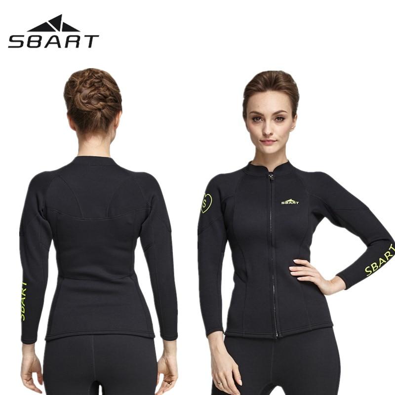 1f508becab Women s Long Sleeve Wetsuit 2MM Neoprene Jacket Black Surfing Diving Suit  Tops Pants Front Zip for Swimming Diving Snorkeling
