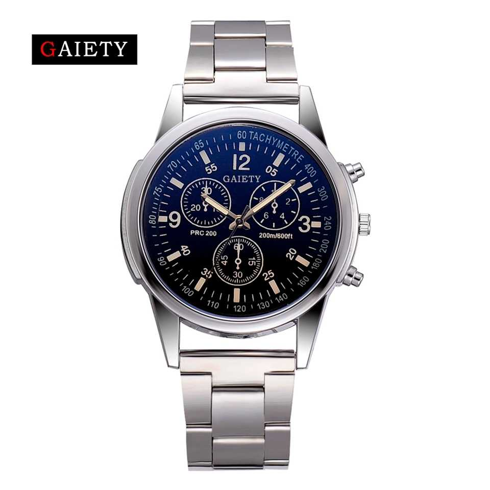 Gaiety Brand Men Watches Luxury Silver Stainless Steel Dress Quartz Watch Clock Fashion Business Casual Watch Relogio Masculino