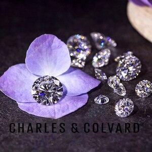 Image 4 - Piedra suelta Real Charles colgard moissanita con certificado Forever One VVS DEF 4,5mm 0.29CT, excelente corte de pruebas positivas