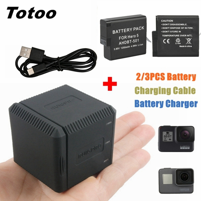 2/3pc For Go Pro Hero 5 6 7 Battery+3 Battery Storage Type Charging Box Case Charger For Gopro Hero 6 5 Hero 7 Black Accessories