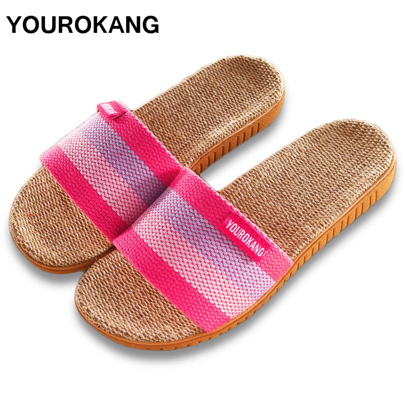 YOUROKANG Summer Autumn Women Home Slippers Slides Indoor Floor Antiskid Striped Female Linen Slippers Ladies Shoes DropshippingYOUROKANG Summer Autumn Women Home Slippers Slides Indoor Floor Antiskid Striped Female Linen Slippers Ladies Shoes Dropshipping