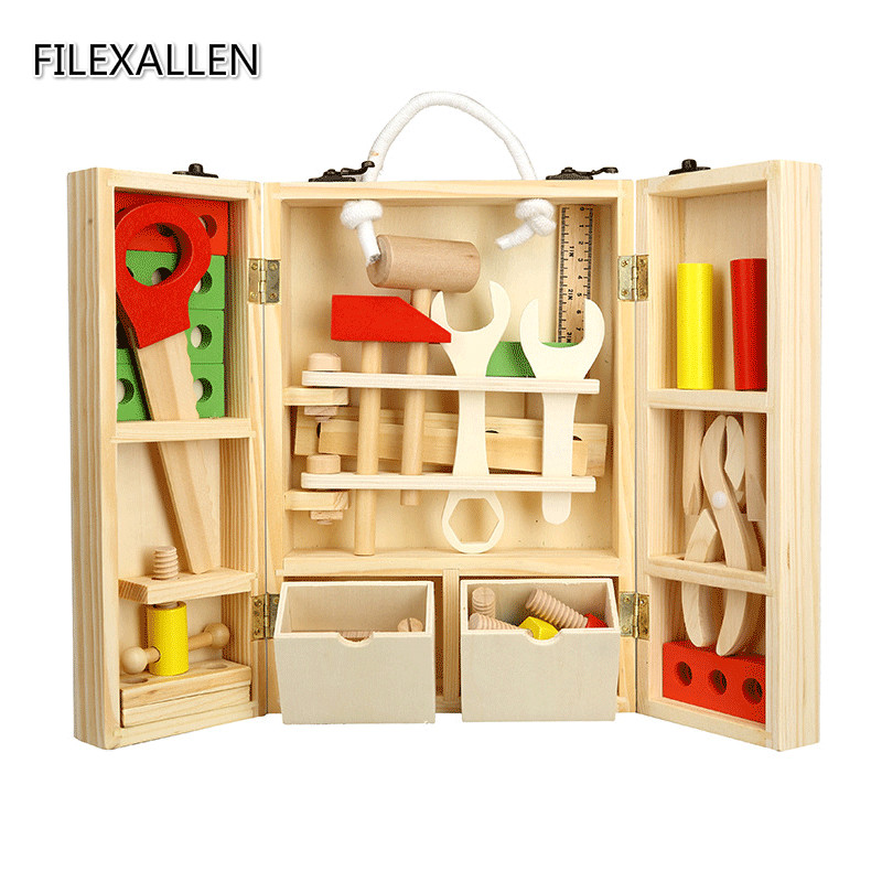 Wooden Simulation font b Tools b font Kits Toy Children Early Educational Toys Childhood Portable Toolbox