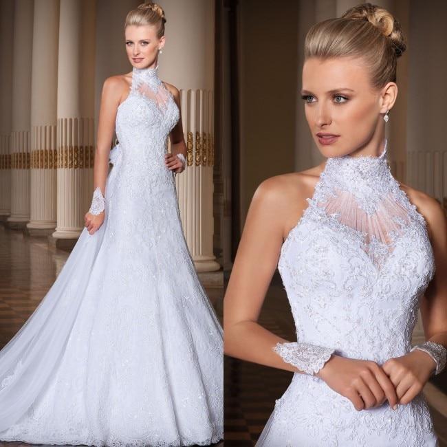 Custom Made vestido de noiva 2014 A Line High Neck Lace Wedding Dress vestido de casamento