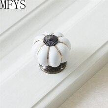 White Cabinet Knobs Pumpkin Kitchen Dresser Knob Drawer Pulls Ceramic Porcelain / Antique Bronze Decorative Hardware