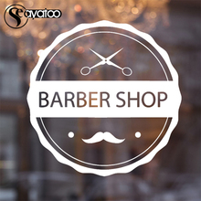 Barber Shop Mustache Vinyl Wall Sticker Decal Beauty Salon Hairdresser Scissor 58x59cm