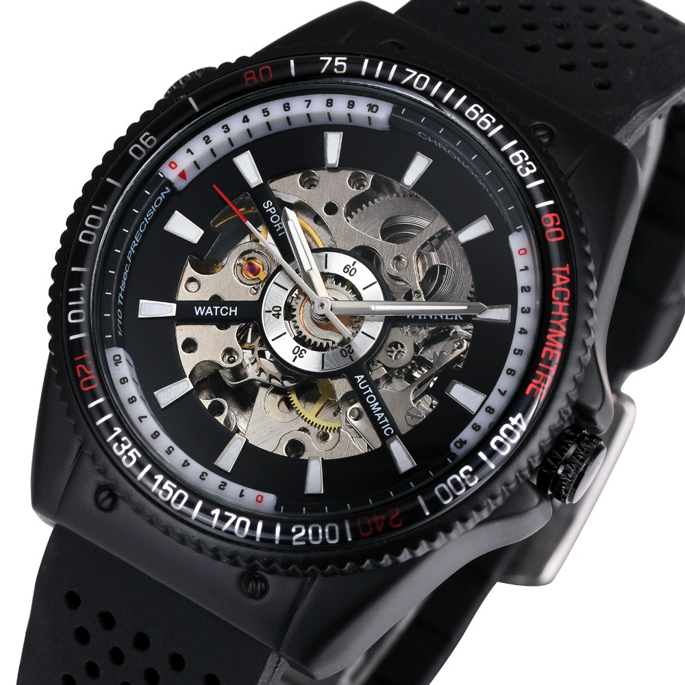 2019 WINNER Watch Men Automatic Mechanical Male Wrist watches for Man Silicone Strap Skeleton Dial Luminous Hands & Index Clock