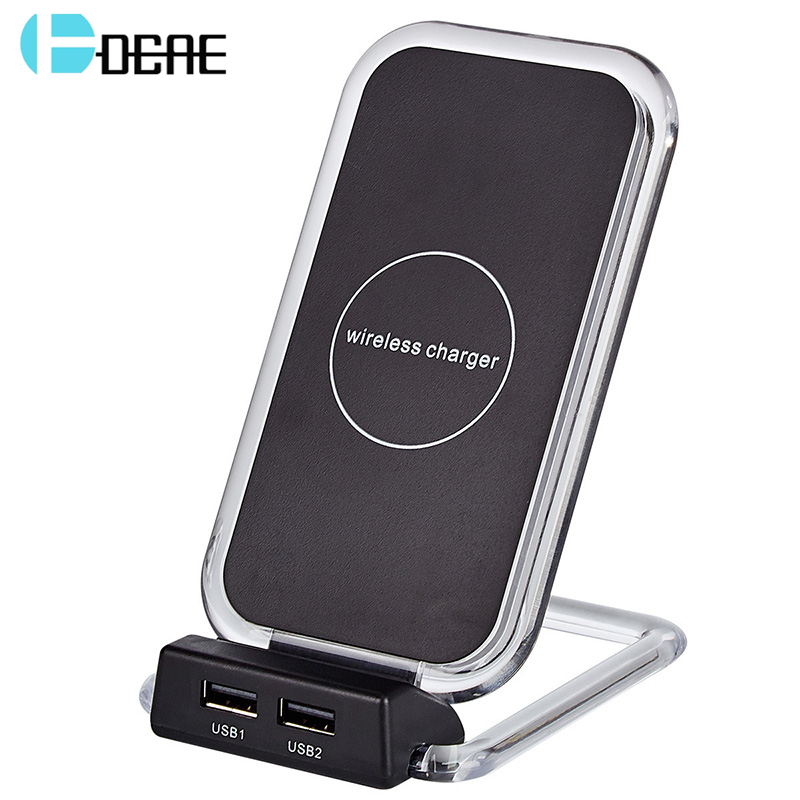 DCAE 3 Coil Qi Wireless Charger For iPhone X 8 Samsung Note 8 S9 S8 Plus S7 S6 Edge 2 USB Fast Charging Pad Docking Dock Station