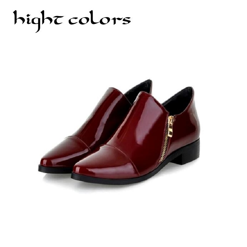 Fashion Patent Leather Pointed Toe Women Casual Flats Ladies Patchwork Side Zipper Flat Oxford Shoes New England Style Oxfords brand fedimiro spring oxford shoes women patent leather pointed toe slip on flat loafers casual metal buckles ladies flats
