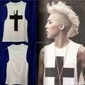 2014 Hot Sale Da Moda Mens estrelas Tanque Colete Cruz Impressão Colete de Algodão Casuais BIGBANG GD EXO Undershirt