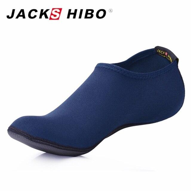 48e57931308d JACKSHIBO Summer New Men Slippers Mens Slip on Water Shoes Aqua Slipper for  Beach Waterpark Sandalias Navy Blue Zapatos Hombre