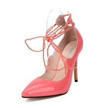 2016 Star Gladiator Cross-tie Perfect Shoes Pointed Toe Lace-up Patent Leather Shoes Women High Heels Shallow Sweet Pumps Pink