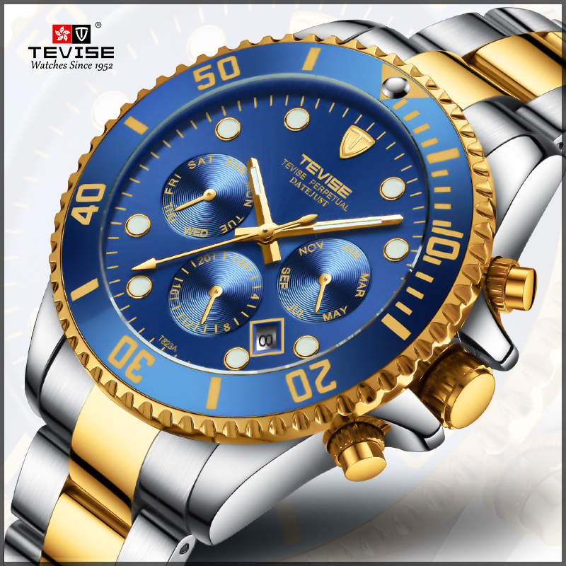 цена на TEVISE Brand Luxury Automatic Mechanical Watch Men Multifunction Stainless Steel Mens Watches Waterproof Fashion Clock horloges