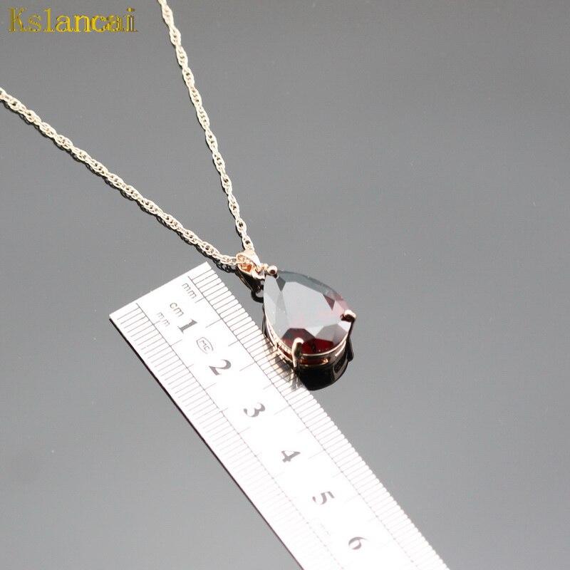 LAN Лидер продаж розовое золото ювелирные наборы каплевидные Красный AAA циркон для Цепочки и ожерелья и кулон/серьги для Для женщин свадебные