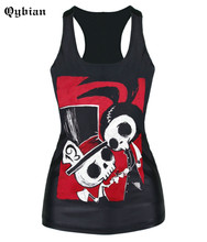 2016 Summer Style Women Tops Skull Couple Printing Black Casual Camiseta Tank Tops Vest
