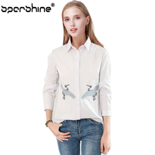 SPARSHINE Long Sleeve Female Blouses Striped White Crane Geese Embroidery Cotton Shirt Women Tops Blusas feminina 2017 Fashion