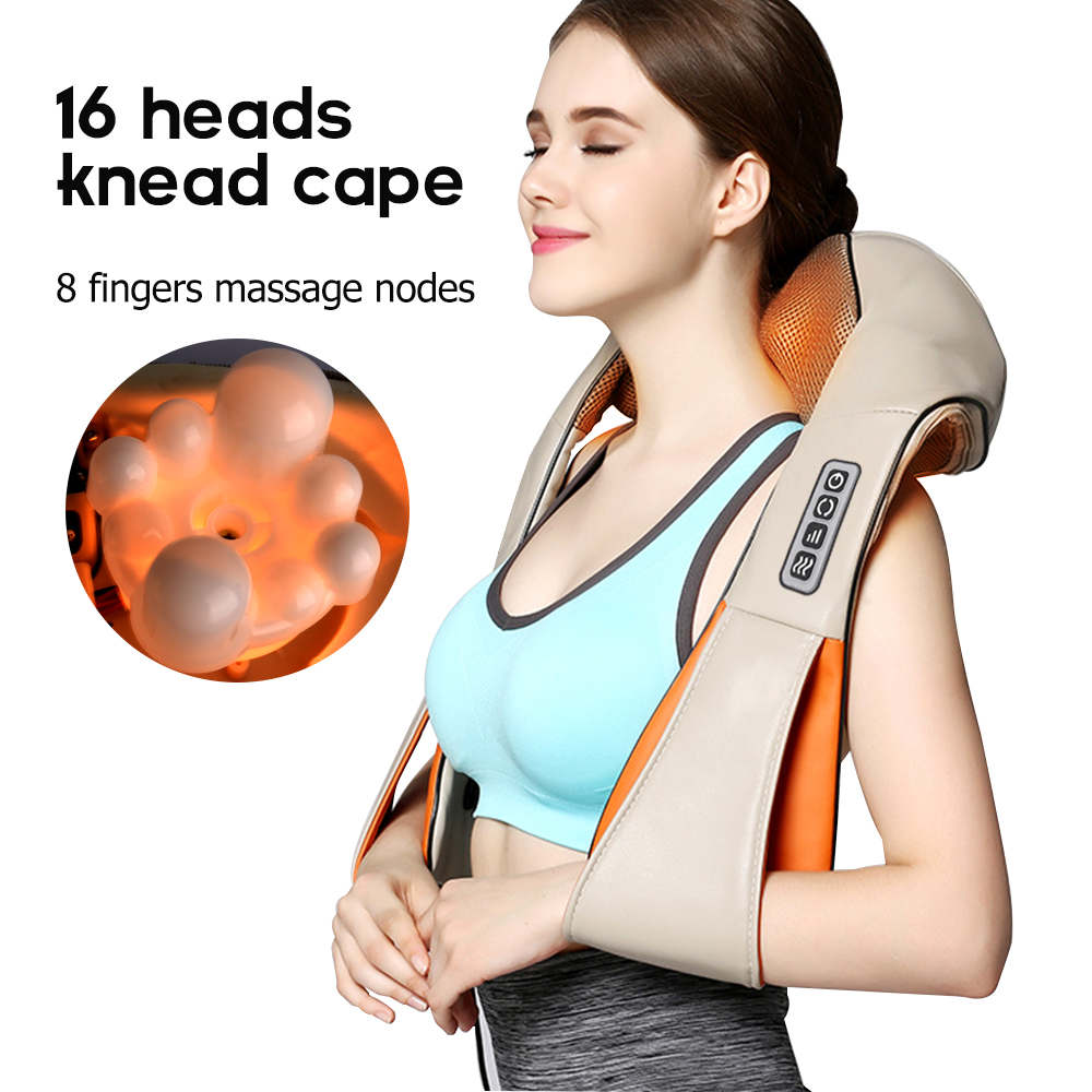 U Forme Électrique Shiatsu Retour Cou Body Massager Infrarouge Chauffée 3D Shiatsu Pétrissage Masseur Maison De Voiture À Double Usage