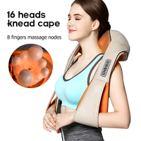 U Shape Electrical Shiatsu Back Neck Shoulder Body Massager Infrared Heated 3D Shiatsu Kneading Massager Car Home Dual Use