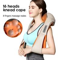 U Shape Electrical Shiatsu Back Neck Shoulder Body Massager Infrared Heated 3D Shiatsu Kneading Massager Car Home Dual Use