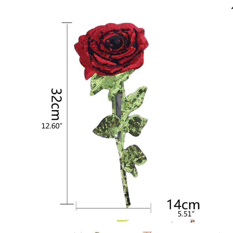 Sequin Rose Flower Iron On Patches for Clothing Jean Jacket Parches - Seni, kraf dan jahitan - Foto 1