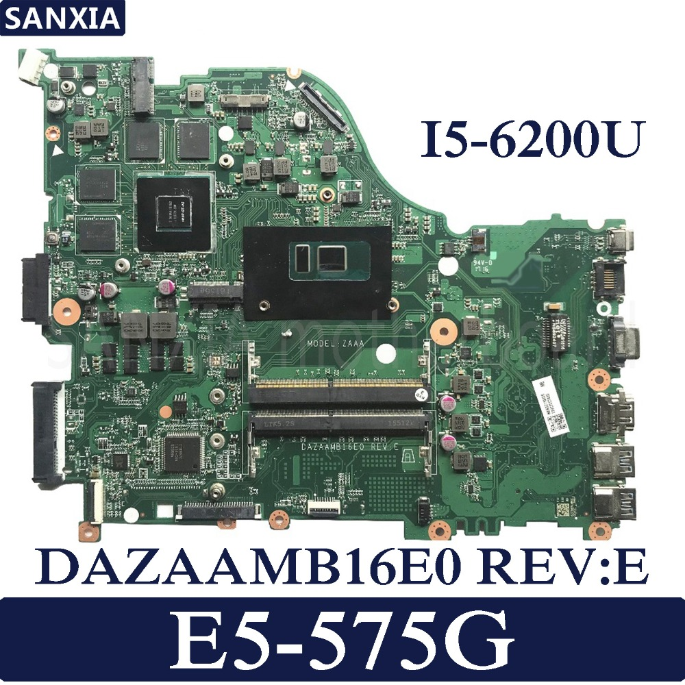 KEFU DAZAAMB16E0 Laptop motherboard for Acer Aspire E5 575G Test original mainboard I5 6200U