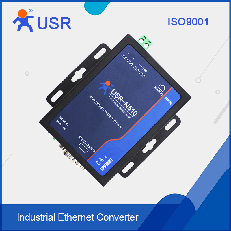 USR-N510 Serial Device Server converters RS232/RS485/RS422 to Ethernet RJ45 support Modbus RTU with CE FCC ROHS hightek hk 8116b industrial 16 ports rs485 422 to ethernet converter ethernet to serial device server