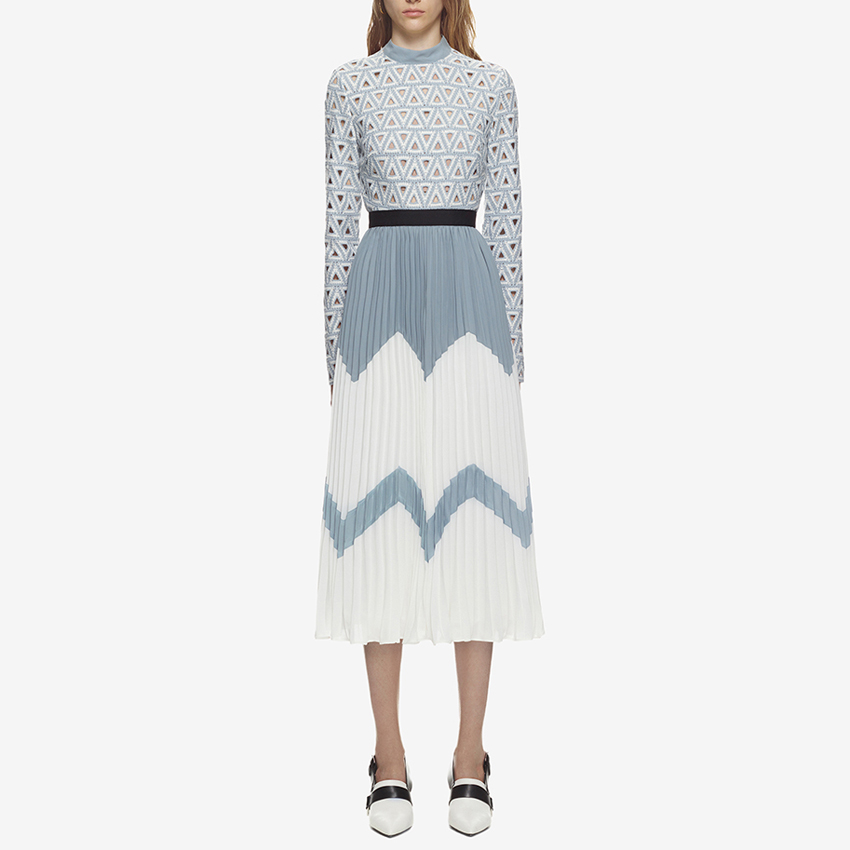 HIGH QUALITY New Stylish 2018 Designer Runway Midi Dress Women's Hollow Out Embroidery Lace Patchwork Color Block Pleated Dress