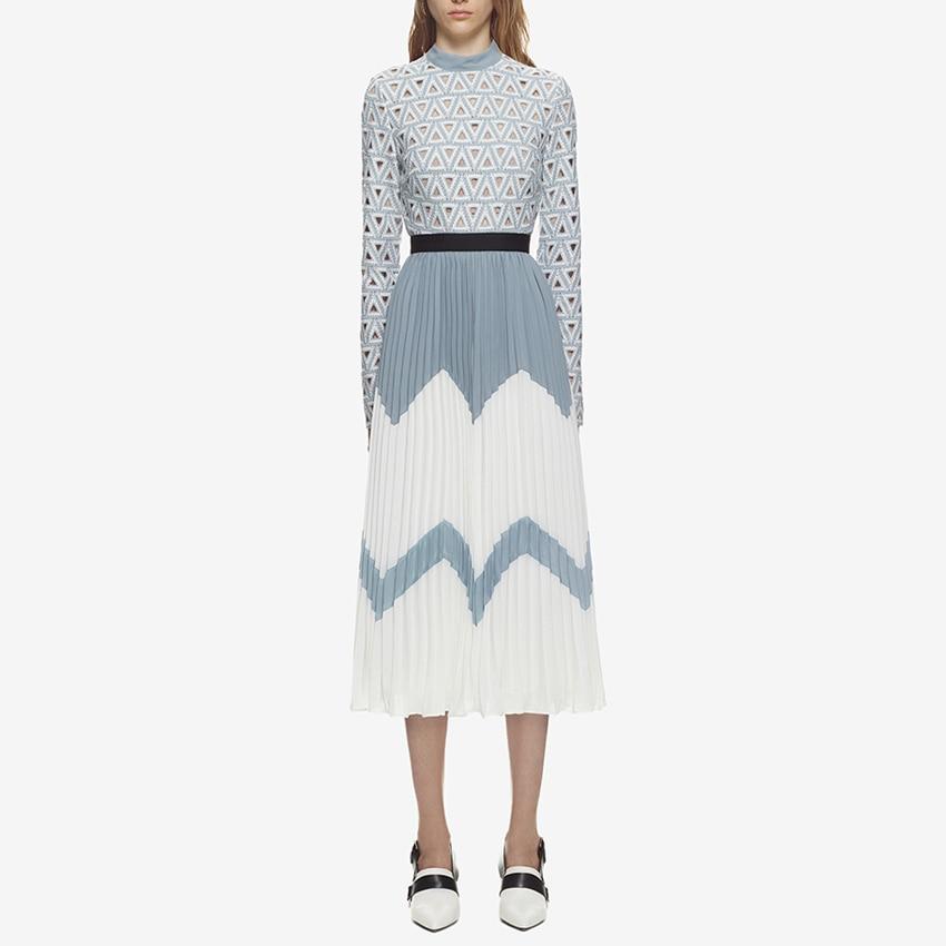 Wysokiej jakości nowe stylowe 2018 projektant Runway Midi sukienka damskie Hollow Out haftowany koronkowy patchwork kolor bloku plisowana sukienka w Suknie od Odzież damska na AliExpress - 11.11_Double 11Singles' Day 1