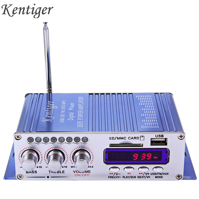 Kentiger HY502 <font><b>Audio</b></font> Car Stereo <font><b>Amplifier</b></font> 12V Mini 2CH Super Bass Digital Music Player Power <font><b>Amplifier</b></font> Support USB MP3 FM Hi-Fi image