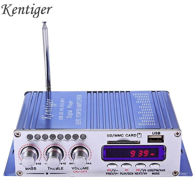 Kentiger hy502 amplificador estéreo do carro de áudio 12v mini 2ch super bass jogador música digital amplificador potência suporte usb mp3 fm hi fi
