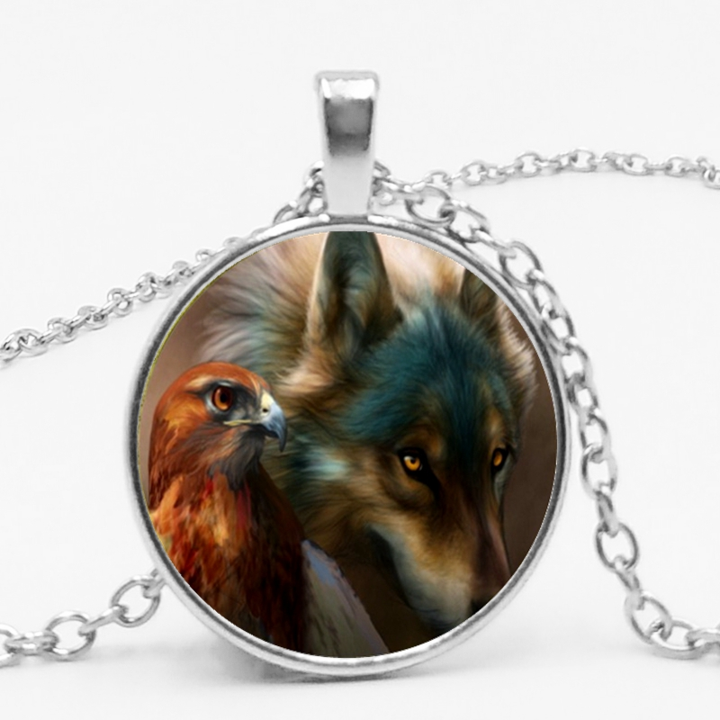 LETS SLIM 2018 New Fashion Dome Glass Siberian Wolf Totem Pendant Necklace Welcome To Map Private Custom in Pendant Necklaces from Jewelry Accessories