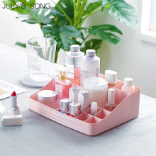 JULY'S SONG 1PC Makeup Organizer Kosmetisk förvaringsbehållare Plastlåda Läppstift Nail Holder Skrivbordshyllor Sund Storage Case