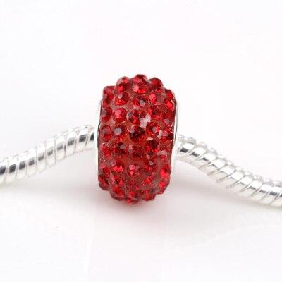 free shipping 1pc acryliv base red crystal rhinestone big hole Bead  Fits European Pandora Charm Bracelets & Necklaces A114