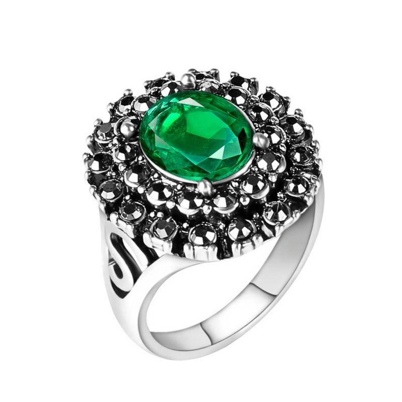 Vintage Big Crystal Rings for Women Antique Silver Color ...